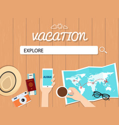 Explore search graphic for vacation vector