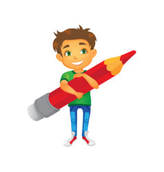 Cartoon boy keeping pencil in hand vector