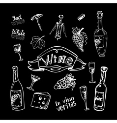 Wine set on chalkboard vector image