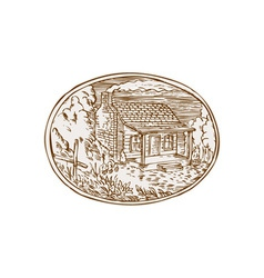 Log cabin farm house oval etching vector