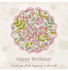 Birthday card with big round of spring flowers vector