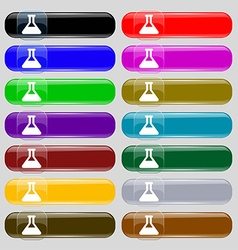 Conical flask icon sign set from fourteen vector