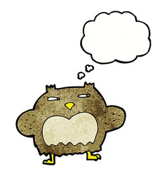 Cartoon suspicious owl with thought bubble vector