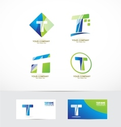 Letter t logo icon set vector