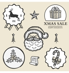 Christmas reindeer santa gift box candy symbol vector