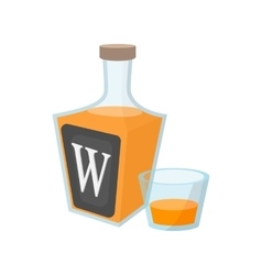 Bottle of whiskey cartoon icon vector
