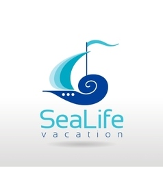 Summer sea travel logo sign with sailing ship vector
