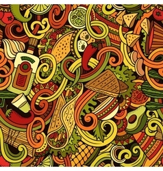 Cartoon mexican food doodles seamless pattern vector