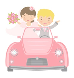 Bride and groom in car vector