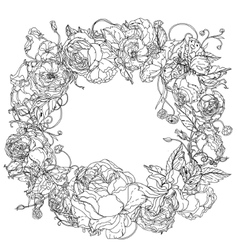 Black and white graceful wreath vector