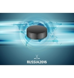 Blue abstract hockey background with black puck vector image