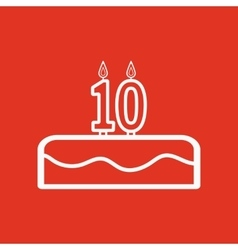 Cake with candles in the form of number 10 icon vector
