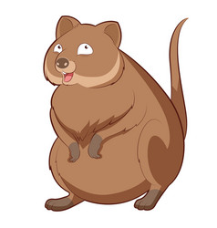cartoon happy quokka vector image vector image