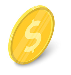 coin icon isometric style vector image vector image