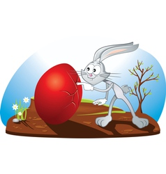 Curious Easter Bunny Cartoon vector image