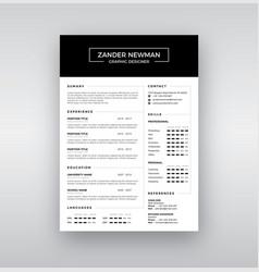 cv resume clean design template curriculum vector image