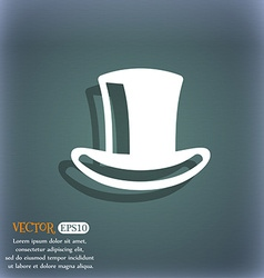 Cylinder hat icon symbol on the blue-green vector