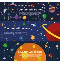 Flat web banner space universe vector image vector image