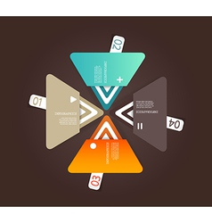 Four colored paper triangles with place for your vector image
