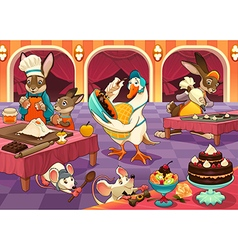 Funny animals are cooking cakes and cookies vector