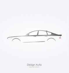 Gray car silhouette side view of luxury sedan vector