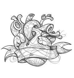 heart tattoo sketch hand drawing style picture vector image vector image