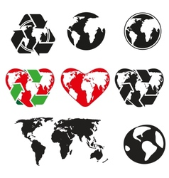 icons globe and arrows vector image