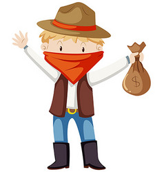 Kid in robber costume vector