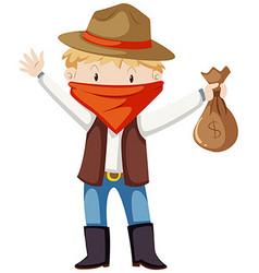 Kid in robber costume vector