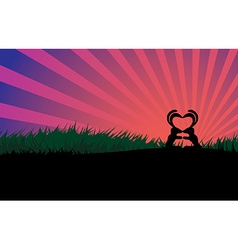 Kissing rabbits couple silhouette vector