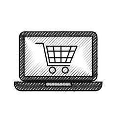 Laptop computer cart shopping online order vector