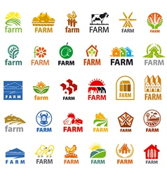 Large set of logos farm vector