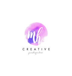 mh watercolor letter logo design with purple vector image