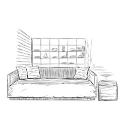 Modern interior room sketch sofa and furniture vector