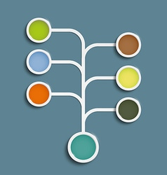 Multicolored circles connected by lines vector image vector image