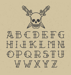 old school tattoo alphabet vector image vector image