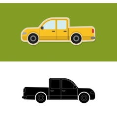 Pickup truck icon and silhouette vector