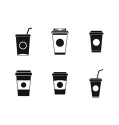 Plastic cup icon set simple style vector