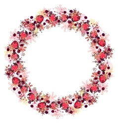 Round frame with different red snowflakes vector image vector image