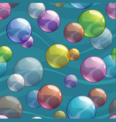seamless pattern with colorful transparent bubbles vector image