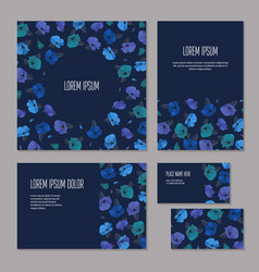 set of blue floristic elements of corporate vector image