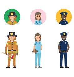 Set of firefighter medical adviser and policeman vector