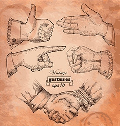 Set of vintage hands Retro styled design elements vector image