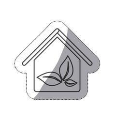 Silhouette house with leaves inside icon vector