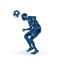 Soccer player bouncing a ball action vector