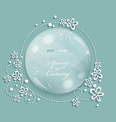 Spring background with glass drop and flowers vector image