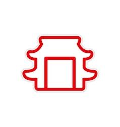 Sticker japanese arch vector