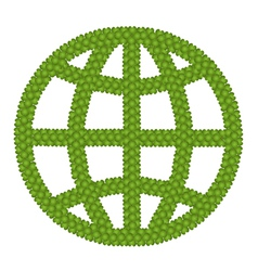 The Globe Sign Made of Green Clover vector image vector image
