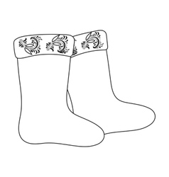Winter felt boots icon in outline style isolated vector image vector image