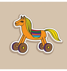 wooden horse sticker vector image